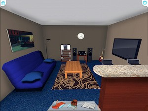 Cozy living room with decoration in 3D